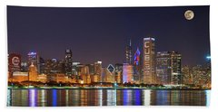Chicago Skyline With Cubs World Series Lights Night, Moonrise, Chicago, Cook County, Illinois, Usa Beach Towel