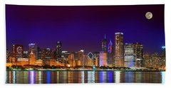 Chicago Skyline With Cubs World Series Lights Night, Moonrise, Lake Michigan, Chicago, Illinois Beach Towel by Panoramic Images