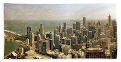 Chicago Skyline With Navy Pier Beach Towel