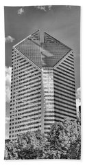 Beach Towel featuring the photograph Chicago Smurfit-stone Building Black And White by Christopher Arndt