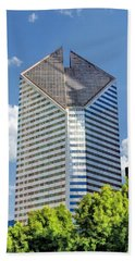Beach Towel featuring the painting Chicago Smurfit-stone Building by Christopher Arndt