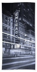 Chicago Theater Marquee B And W Beach Sheet by Steve Gadomski