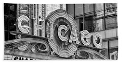 Chicago Theatre Marquee Black And White Beach Towel