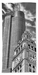Beach Towel featuring the photograph Chicago Trump And Wrigley Towers Black And White by Christopher Arndt