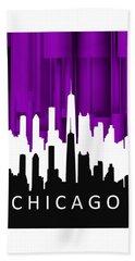 Beach Towel featuring the digital art Chicago Violet In Negative by Alberto RuiZ