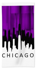 Beach Towel featuring the digital art Chicago Violet Vertical  by Alberto RuiZ