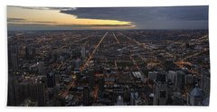 Beach Towel featuring the photograph Chicago Westward by Steven Sparks