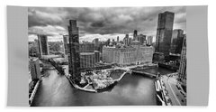 Chicago's Wolf Point From The 27th Floor Beach Towel