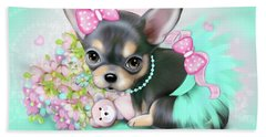 Beach Towel featuring the painting Chichi Sweetie by Catia Lee