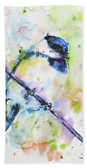 Beach Sheet featuring the painting Chick-a-dee-dee-dee by Zaira Dzhaubaeva