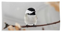 Beach Sheet featuring the photograph Chickadee Bird In Snow by Christina Rollo