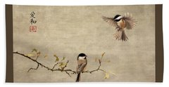 Chickadee Encounter II Beach Towel