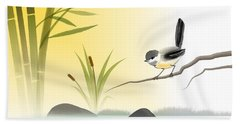 Chickadee In Spring Beach Towel by John Wills