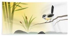 Chickadee In Spring Beach Sheet by John Wills