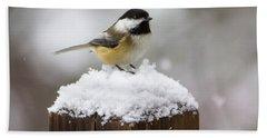 Chickadee In The Snow Beach Towel