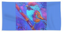 Beach Towel featuring the painting Chickadee by Nancy Jolley