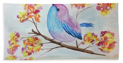 Chickadee On A Branch With Head Up Beach Towel