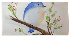 Chickadee On A Branch With Leaves Beach Towel