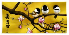 Chickadee On Blooming Magnolia Branch Beach Towel by John Wills
