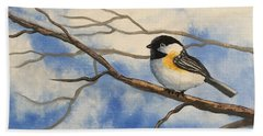 Chickadee On Branch Beach Sheet by Brenda Bonfield