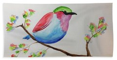 Chickadee With Green Head On A Branch Beach Towel