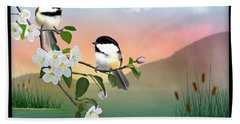 Chickadees And Apple Blossoms Beach Sheet