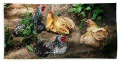 Chicken Dust Bath Party Beach Towel