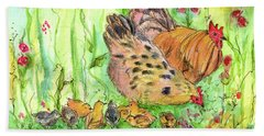 Beach Sheet featuring the painting Chicken Family by Cathie Richardson