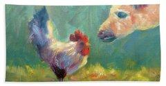 Chicken Meets Llama Beach Sheet