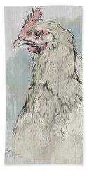Chicken Portrait-farm Animals Beach Towel