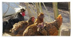Chicken Protest Beach Towel by Jeanette Oberholtzer