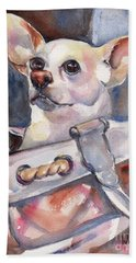 Chihuahua Beach Towel by Maria's Watercolor