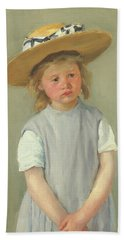 Beach Towel featuring the painting Child In A Straw Hat By Mary Cassatt 1886 by Movie Poster Prints
