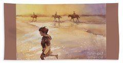Beach Towel featuring the painting Child On Beach- Ocracoke Island, Nc by Ryan Fox