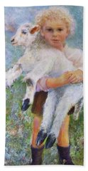 Child With A Lamb Beach Towel