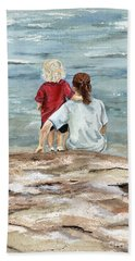 Children By The Sea  Beach Towel