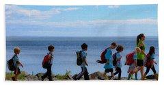 Children On Lake Walk Beach Towel