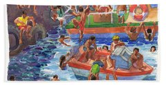 Children Playing At Avarua Wharf  Beach Towel