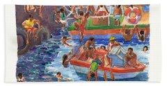 Children Playing At Avarua Wharf  Beach Sheet