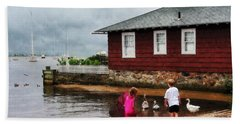 Beach Towel featuring the photograph Children Playing At Harbor Essex Ct by Susan Savad