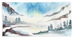 Children's Book Illustration Of Mountains Beach Towel
