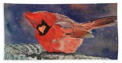 Chilly Bird Christmas Card Beach Towel