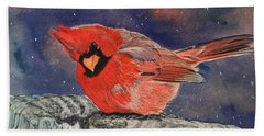 Chilly Bird Christmas Card Beach Sheet