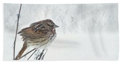 Beach Towel featuring the mixed media Chilly Song Sparrow by Lori Deiter