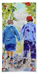 Chilly Spring Walk Beach Towel