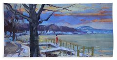Chilly Sunset In Niagara River Beach Towel
