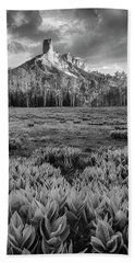 Chimney Rock In Black And White Beach Towel