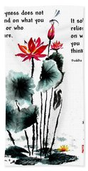 China Garden With Buddha Quote Beach Towel