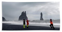 Beach Towel featuring the photograph China's Tourists In Reynisfjara Black Sand Beach, Iceland by Dubi Roman