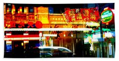 Chinatown Window Reflections 2 Beach Towel by Marianne Dow